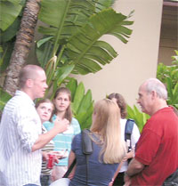 NSF Assistant Director Michael Turner (in red shirt) chats with CEU participants at an ice cream social during the DNP meeting in Maui.
