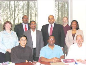 The APS Committee on Minorities met at APS headquarters in College Park, MD on April 7. In the photo are (left to right): Juana Rudati, Eric Lin, Lawrence Norris (National Society of Black Physicists liaison), Calvin Howell (COM Chair), Edward Thomas (bottom), Jay Dickerson (top), APS Director of Education Ted Hodapp, APS Outreach Programs Administrator Arlene Modeste Knowles, and Pete Markowitz.