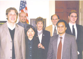 Nevada APS Members Visit Their Congresswoman. APS members from Nevada visited with Congresswoman Shelley Berkley (D-NV) during the Congressional visits organized by APS. From left to right are Philippe Weck, Zachary Quine, Eunja Kim, Congresswoman Shelley Berkley, Michael Pravica, Edward Romano, and Brian Yulga.