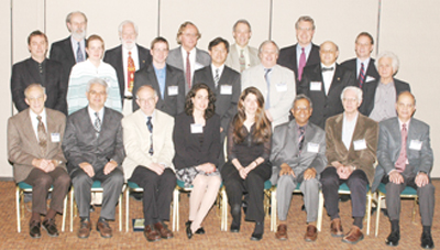 April 2006 prizes and awards recipients: Front row (l to r): Glen Lambertson, Savas Dimopoulos, Ian Towner, Alysia Marino, Florencia Canelli, Padma Kant Shukla, William Ford, John Heilbron. Middle row (l to r): Nigel Lockyer, Evgenya Smirnova, David Miller, Li-Bang Wang, Sergio Ferrara, Mikhail Shifman, Yuri Orlov. Back row (l to r): Paul Richards,John Hardy, Peter van Nieuwenhuizen, Daniel Freedman, John Jaros, David Albright.