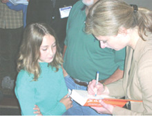 Lisa Randall signing book