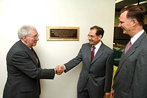 President-elect Arthur Bienenstock presents plaque to MIT Dean of Science Marc Kastner