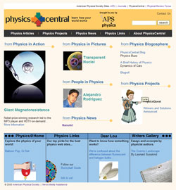 PhysicsCentral website before