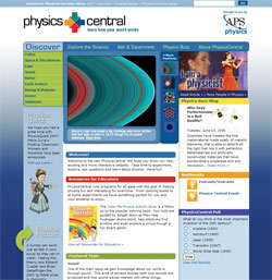 PhysicsCentral website after