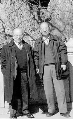 Wolfgang Panofsky and Xie Jialin in Beijing, 2002