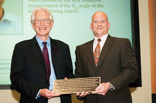 APS President Malcolm Beasley presents plaque to Doug Hintze, CFO of Savannah River Site