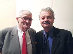 Artist David Hockney (left) and physicist Charlie Falco (right)