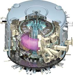 Cutaway illustration of the planned ITER tokamak