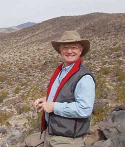Sandy Rodgers surveying in the Panamint Mountains