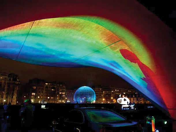 Art installation at International Year of Light celebration at UNESCO