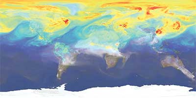 NASA earth shot showing atmospheric carbon dioxide levels