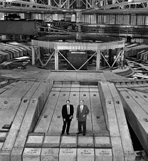 Berkeley physicists Edward McMillan and Edward Lofgren on the Bevatron