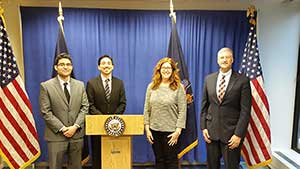 Hunter College students (L-R) Fernando Villafuerte and Stephen Munoz, and physics chair Steve Greenbaum (far right) met with Brook Gesser (of Sen. Gillibrand's office) to discuss science funding and STEM education.