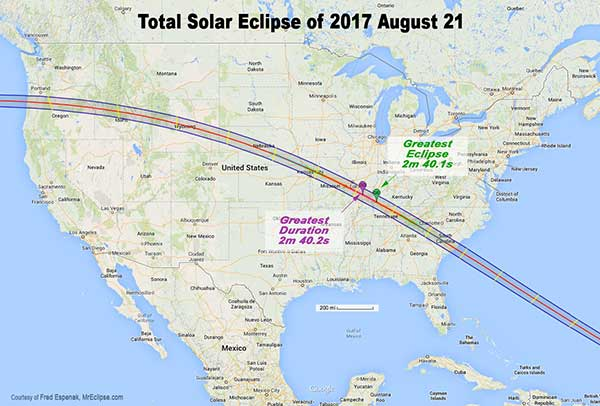 Total Solar Eclipse of 2017 U.S. map
