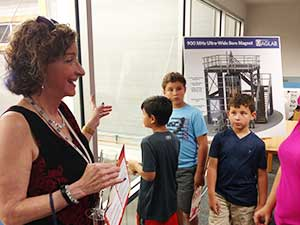 Laura Greene explaining to kids