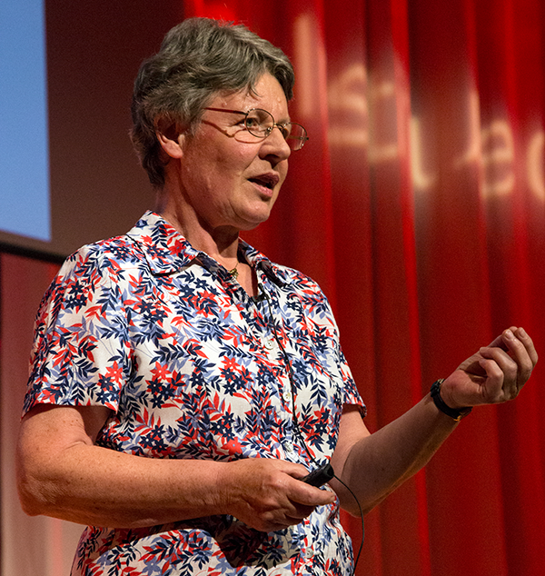 Jocelyn Bell Burnell addressing the 2017 International Women in Physics Conference upon receiving the U.K. Institute of Physics President's Medal