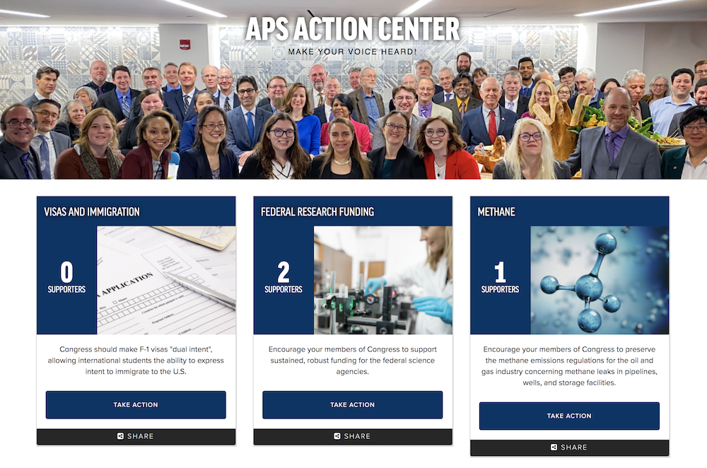 APS Action Center webpage screenshot