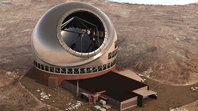 Artist's depiction of the controversial Thirty Meter Telescope proposed for construction on Mauna Kea in Hawaii